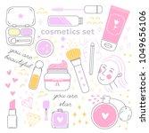 hand drawn vector set of make... | Shutterstock .eps vector #1049656106