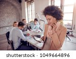 business people giving some new ... | Shutterstock . vector #1049664896