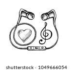 headphones doodle sketch style  ... | Shutterstock . vector #1049666054