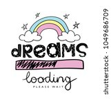 dreams text and rainbow drawing ... | Shutterstock .eps vector #1049686709