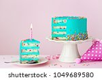 colorful birthday cake with one ... | Shutterstock . vector #1049689580