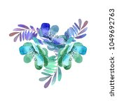 watercolor flowers and twigs... | Shutterstock . vector #1049692763