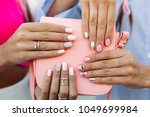 close up of trendy leather pink ... | Shutterstock . vector #1049699984