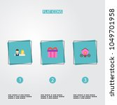 set of engagement icons flat... | Shutterstock .eps vector #1049701958