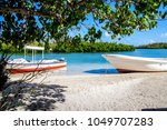 lagoon bay with boats | Shutterstock . vector #1049707283