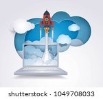project startup  rocket ship... | Shutterstock .eps vector #1049708033