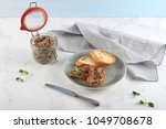 home made pate in glass jar and ... | Shutterstock . vector #1049708678