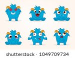 cartoon monsters. vector set of ... | Shutterstock .eps vector #1049709734