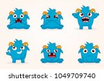 cartoon monsters. vector set of ... | Shutterstock .eps vector #1049709740