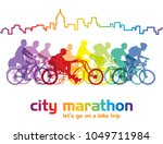 group of cyclist on the bicycle ... | Shutterstock . vector #1049711984