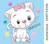 cute kitten girl and stars on a ... | Shutterstock .eps vector #1049713196