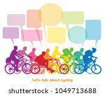 group of cyclists riding bikes... | Shutterstock . vector #1049713688