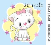 cute kitten girl and stars on a ... | Shutterstock .eps vector #1049714486