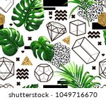 tropical palm leaves background ... | Shutterstock .eps vector #1049716670