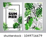 tropical palm leaves background.... | Shutterstock .eps vector #1049716679