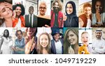 collage with people from the... | Shutterstock . vector #1049719229