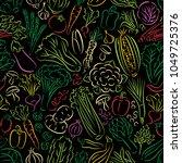 vegetable doodles seamless... | Shutterstock . vector #1049725376