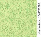 vegetable doodles seamless... | Shutterstock .eps vector #1049725880