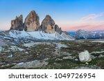 tre cime di lavaredo at sunset  ... | Shutterstock . vector #1049726954