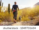 Stock photo unidentifiable woman walking a dog on a hiking path in mountain view park in phoenix arizona 1049731634