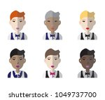 colorful set of six racially... | Shutterstock .eps vector #1049737700