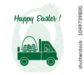 easter symbols. truck carrying... | Shutterstock .eps vector #1049739800