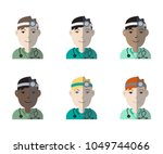 colorful set of six multiethnic ... | Shutterstock .eps vector #1049744066