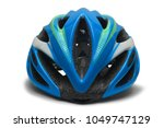 blue bicycle helmet isolated on ... | Shutterstock . vector #1049747129