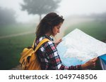hipster young girl with... | Shutterstock . vector #1049748506