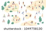 group of people performing... | Shutterstock .eps vector #1049758130