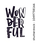 wonderful word handwritten with ... | Shutterstock .eps vector #1049758166