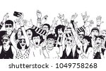 crowd of excited people or... | Shutterstock .eps vector #1049758268