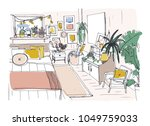 freehand sketch of comfortable... | Shutterstock .eps vector #1049759033