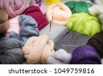 Small photo of colored worsted wool,felting equipment