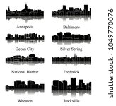 8 city silhouette in maryland   ... | Shutterstock .eps vector #1049770076