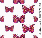 embroidery pink butterfly ... | Shutterstock .eps vector #1049772110
