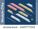isometric 3d set transport... | Shutterstock .eps vector #1049777243
