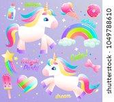 unicorn cute set. colorful... | Shutterstock .eps vector #1049788610