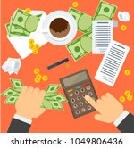 payment of bills flat vector... | Shutterstock .eps vector #1049806436