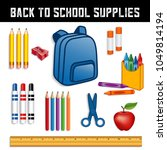 back to school supplies for... | Shutterstock .eps vector #1049814194