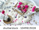 sage with pink flowers and... | Shutterstock . vector #1049815028
