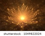 radiant orange lotus with rays... | Shutterstock . vector #1049822024