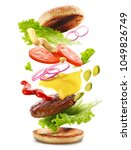 delicious burger with floating... | Shutterstock . vector #1049826749