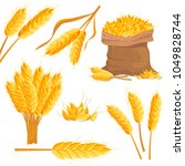 cartoon wheat isolated set.... | Shutterstock .eps vector #1049828744