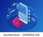isometric smart phone online... | Shutterstock .eps vector #1049832143