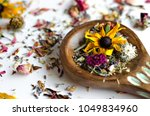 dried flowers essential oil...   Shutterstock . vector #1049834960