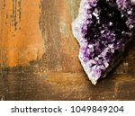 amethyst crystal on wood...   Shutterstock . vector #1049849204
