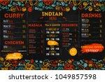 hand drawn indian food menu... | Shutterstock .eps vector #1049857598