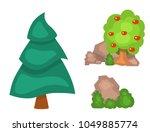 garden trees vector flowers... | Shutterstock .eps vector #1049885774