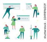 characters that fix computer... | Shutterstock .eps vector #1049896019